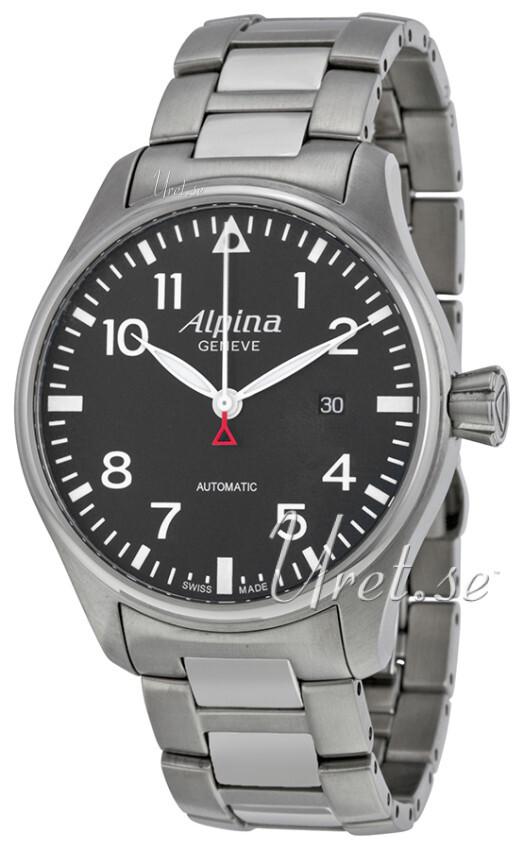 Alpina Startimer Herreklokke AL-525B4S6B Sort/Stål Ø44 mm - Alpina