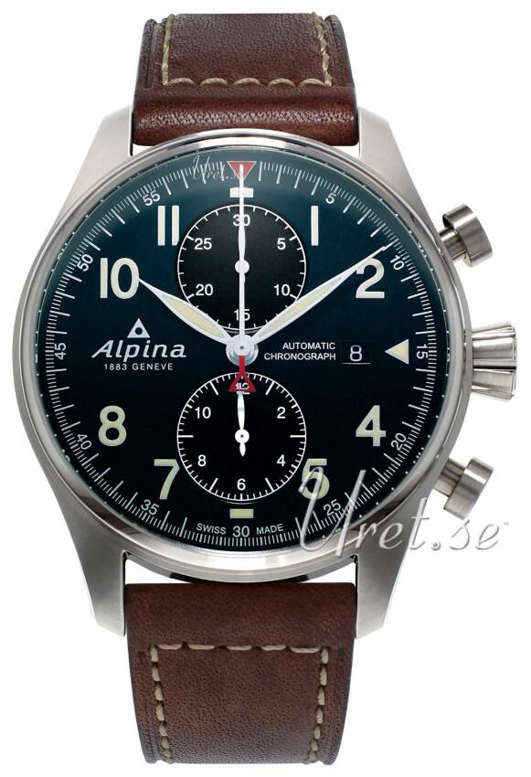 Alpina Startimer Herreklokke AL-725N4S6 Blå/Lær Ø44 mm - Alpina