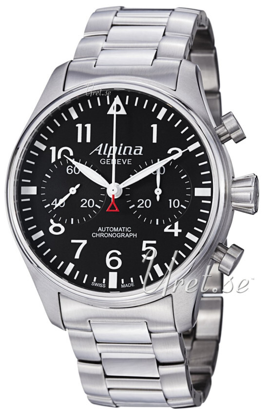 Alpina Startimer Herreklokke AL-860B4S6B Sort/Stål Ø44 mm - Alpina