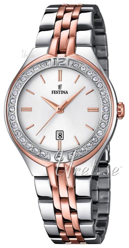 Festina Dress Dameklokke F16868-2 Hvit/Rose-gulltonet stål Ø33 mm - Festina