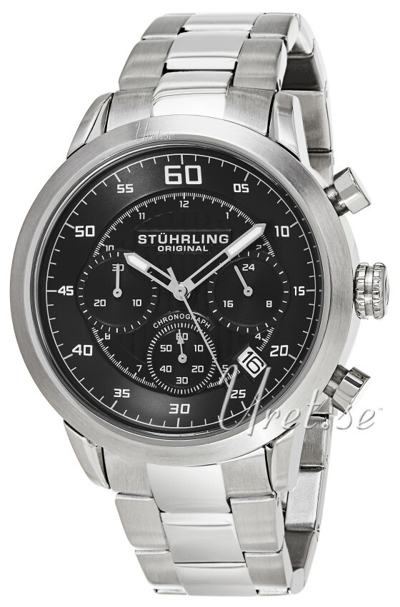 Stührling Original Monaco Herreklokke 816.02 Sort/Stål Ø42 mm