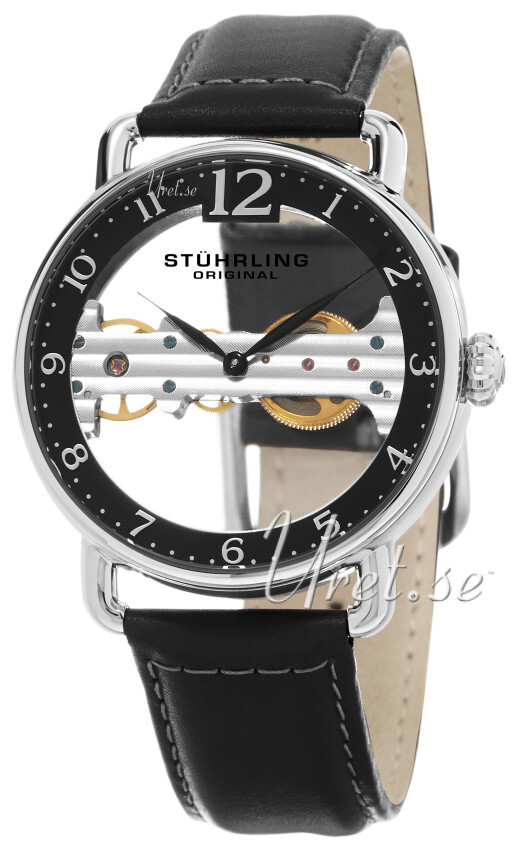 Stührling Original Legacy Herreklokke 976.01 Sort/Lær Ø42 mm - Stührling Original
