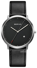 Bering Slim Sort/Lær Ø39 mm 11139-402