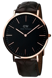 Daniel Wellington Classic Black York Sort/Lær Ø40 mm DW00100128
