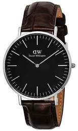 Daniel Wellington Classic Black York Sort/Lær Ø40 mm DW00100134