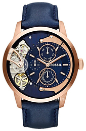 Fossil Mechanical Blå/Lær Ø44 mm ME1138