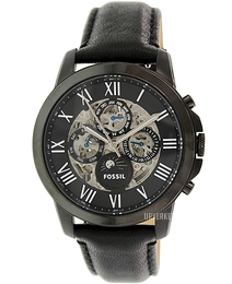 Fossil Grant Sort/Lær Ø44 mm ME3028