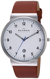 Skagen Ancher Hvit/Lær Ø40 mm SKW6082