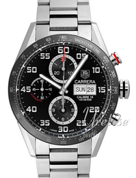 TAG Heuer Carrera Calibre 16 Day Date Automatic Chronograph Sort/Stål Ø43 mm CV2A1R.BA0799