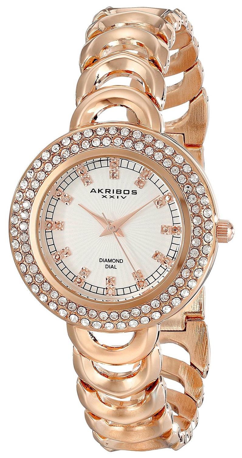 Akribos XXIV Diamond Dameklokke AK804RG Antikk hvit/Rose-gulltonet - Akribos XXIV