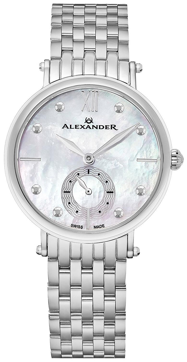 Alexander Monarch Dameklokke A201B-01 Sølvfarget/Stål Ø34 mm - Alexander