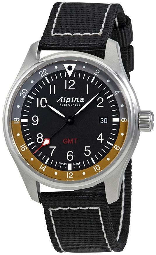 Alpina Startimer Herreklokke AL-247BBG4S6 Sort/Tekstil Ø42 mm - Alpina