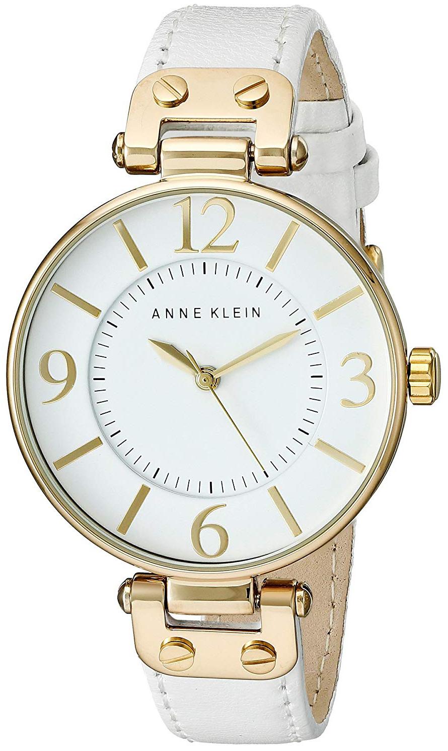 Anne Klein Leather Dameklokke 10/9168WTWT Hvit/Lær Ø34 mm - Anne Klein