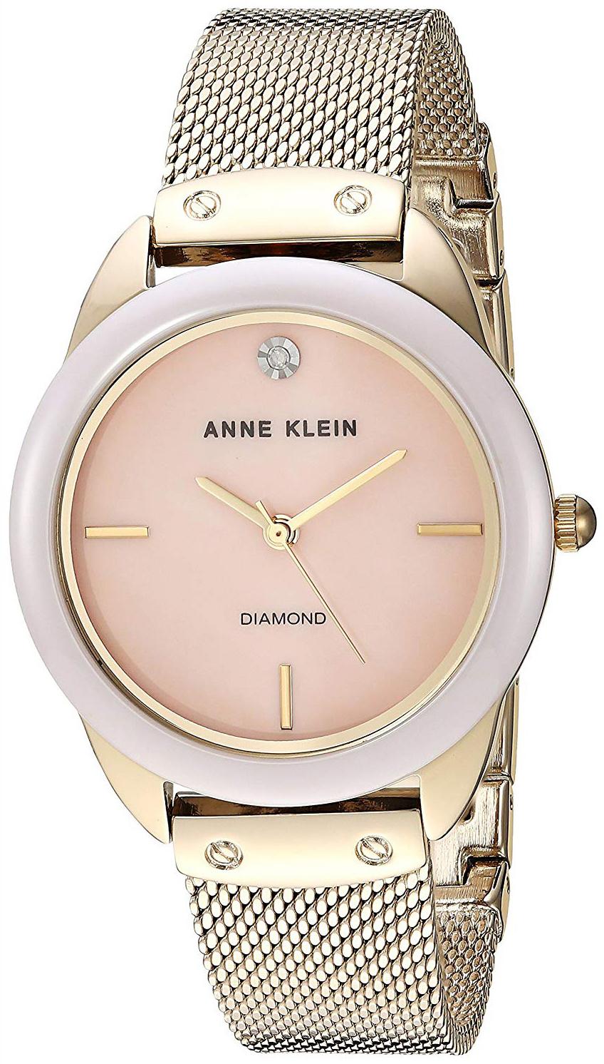 Anne Klein Diamond Dameklokke AK/3258LPGB Rosa/Gulltonet stål Ø32 mm - Anne Klein