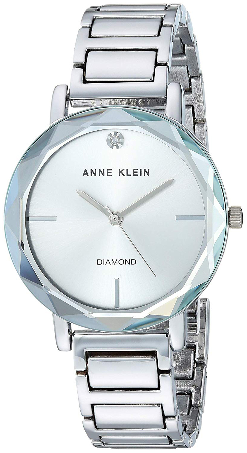 Anne Klein Diamond Dameklokke AK/3279SVSV Sølvfarget/Stål Ø32 mm - Anne Klein