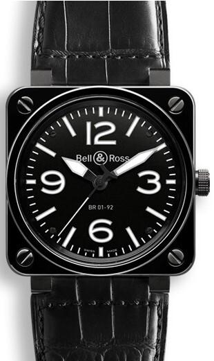 Bell & Ross BR 01-92 Herreklokke BR0192-BL-CER-SCR Sort/Lær Ø46 - Bell & Ross