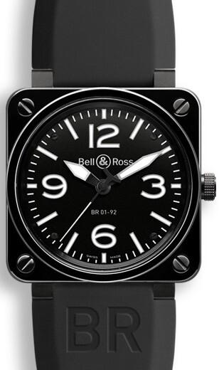 Bell & Ross BR 01-92 Herreklokke BR0192-BL-CER-SRB Sort/Gummi - Bell & Ross