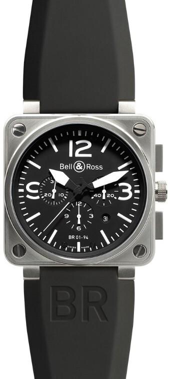 Bell & Ross BR 01-94 Herreklokke BR0194-BL-ST Sort/Gummi Ø46 mm - Bell & Ross