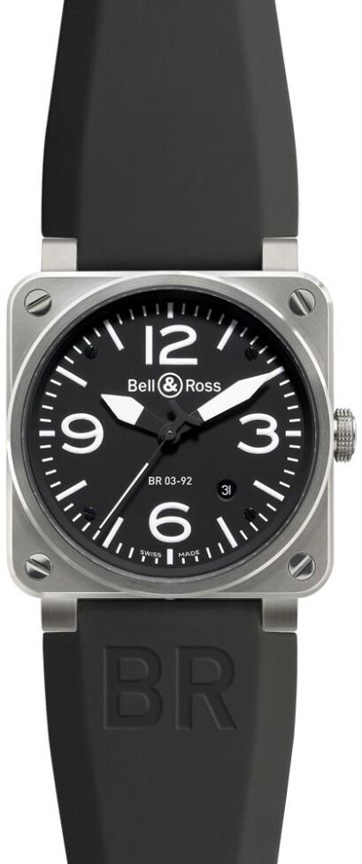 Bell & Ross BR 03-92 Herreklokke BR0392-BL-ST Sort/Gummi Ø42 mm - Bell & Ross