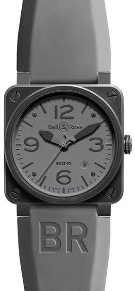 Bell & Ross BR 03-92 Herreklokke BR0392-COMMANDO Grå/Gummi Ø42 - Bell & Ross