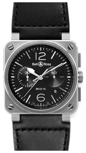 Bell & Ross BR 03-94 Herreklokke BR0394-BL-SI-SCA Sort/Lær - Bell & Ross