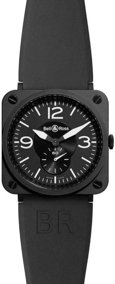 Bell & Ross BR S Quartz Herreklokke BRS-BLC-MAT-SRB Sort/Gummi - Bell & Ross