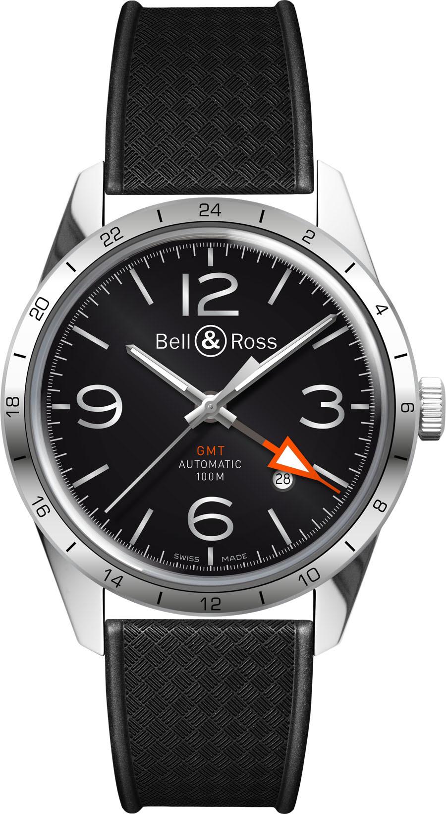 Bell & Ross BR 123 Herreklokke BRV123-BL-GMT-SRB Sort/Gummi Ø41 - Bell & Ross