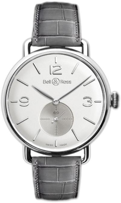 Bell & Ross WW1 Herreklokke BRWW1-ME-AG-OP-SCR Sølvfarget/Lær - Bell & Ross