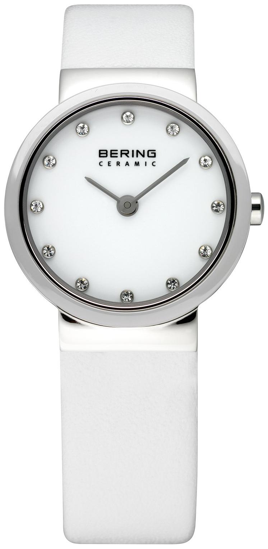 Bering Ceramic Dameklokke 10725-854 Hvit/Lær Ø25 mm - Bering