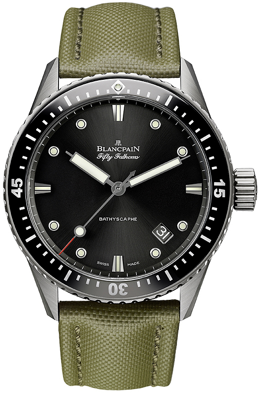 Blancpain Fifty Fathoms Herreklokke 5000-1230-K52A Sort/Lær Ø43 mm - Blancpain
