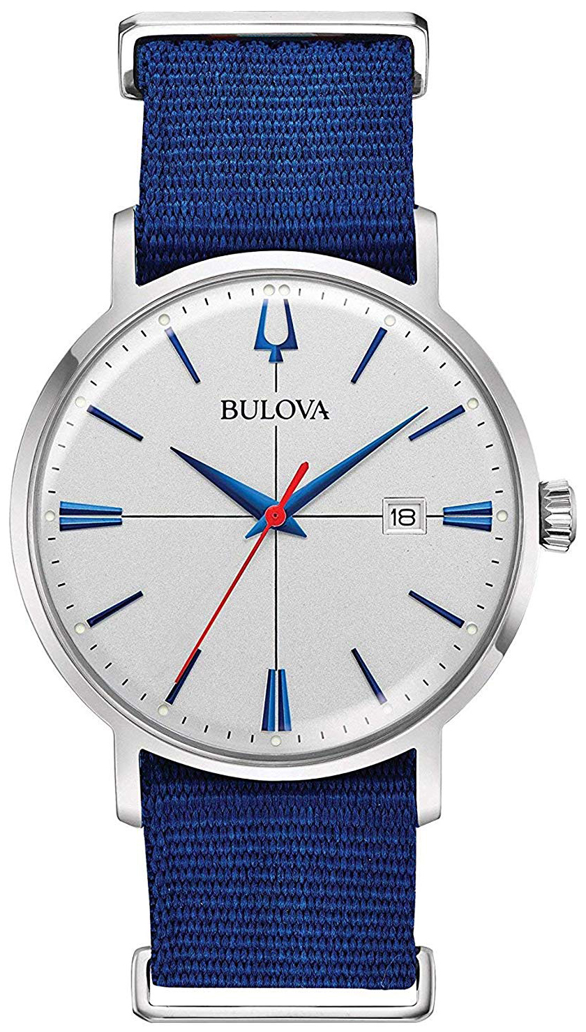 Bulova Classic Herreklokke 96B313 Sølvfarget/Tekstil Ø39 mm - Bulova