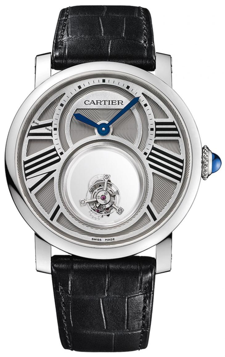 Cartier Rotonde De Cartier Herreklokke W1556210 Sølvfarget/Lær Ø45 - Cartier