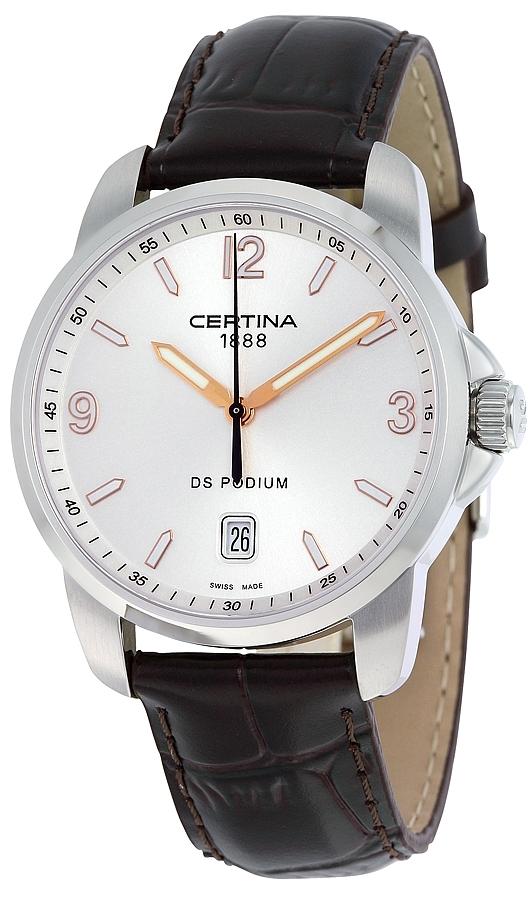Certina DS Podium Herreklokke C001.410.16.037.01 Sølvfarget/Lær - Certina