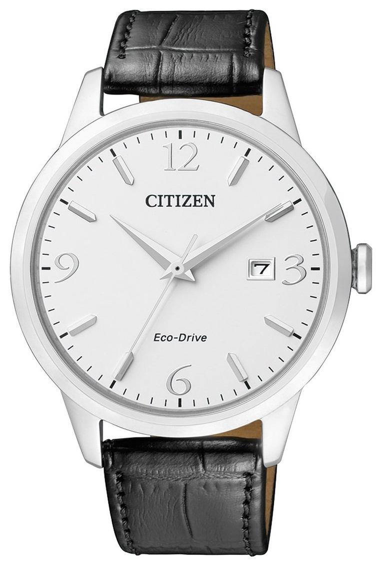 Citizen Eco Drive 180 Herreklokke BM7300-09A Hvit/Lær Ø43 mm - Citizen