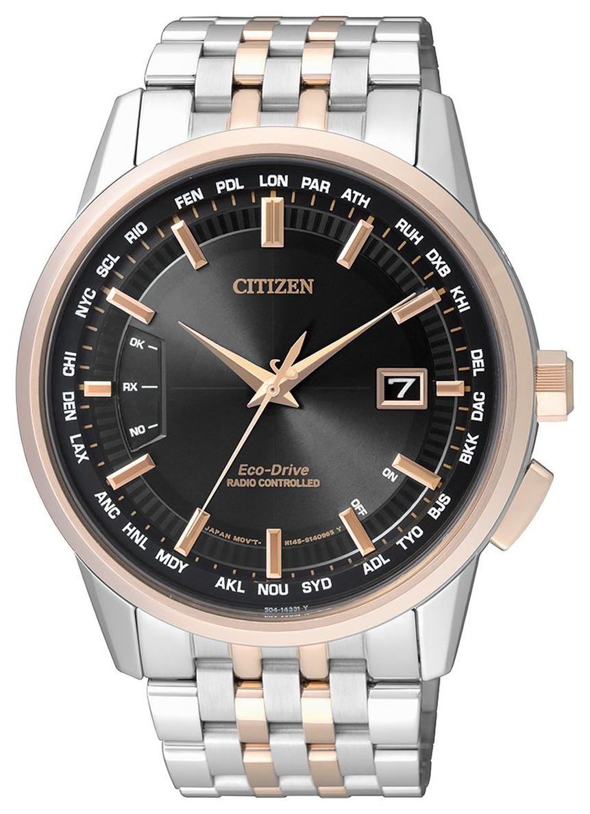 Citizen Radio Controlled Herreklokke CB0156-66E Sort/Rose-gulltonet - Citizen