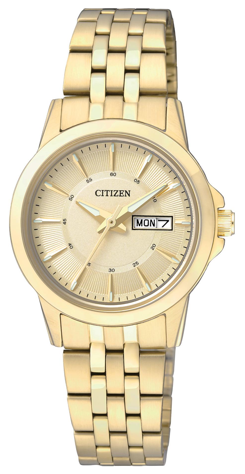 Citizen Dress Dameklokke EQ0603-59P Gulltonet/Gulltonet stål Ø28 mm - Citizen