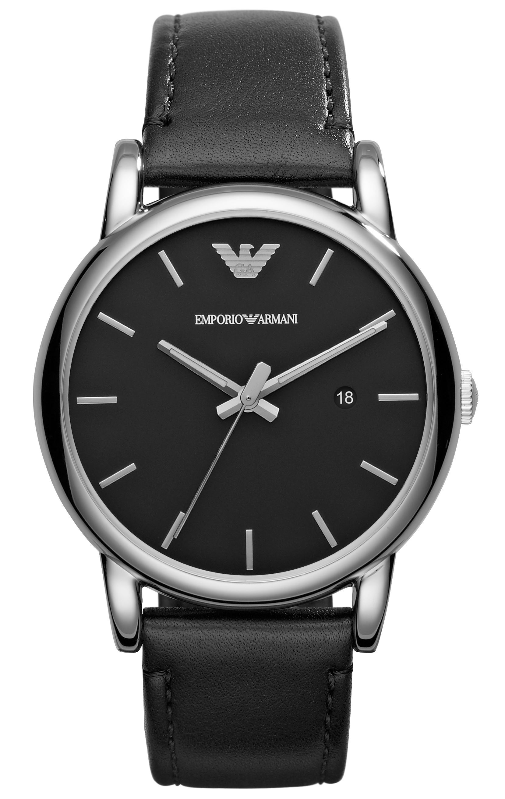 Emporio Armani Dress Herreklokke AR1692 Sort/Lær Ø41 mm - Emporio Armani