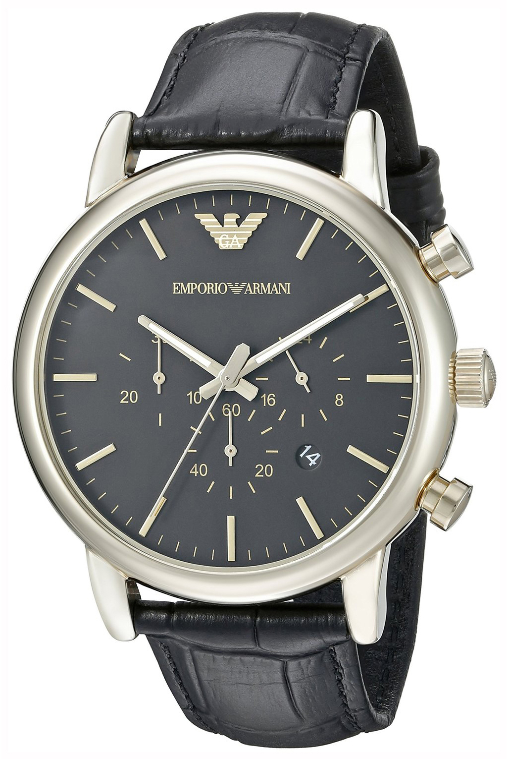 Emporio Armani Dress Herreklokke AR1917 Sort/Lær Ø46 mm - Emporio Armani