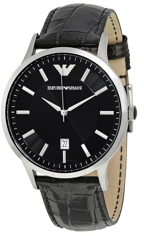 Emporio Armani Dress Herreklokke AR2411 Sort/Lær Ø43 mm - Emporio Armani