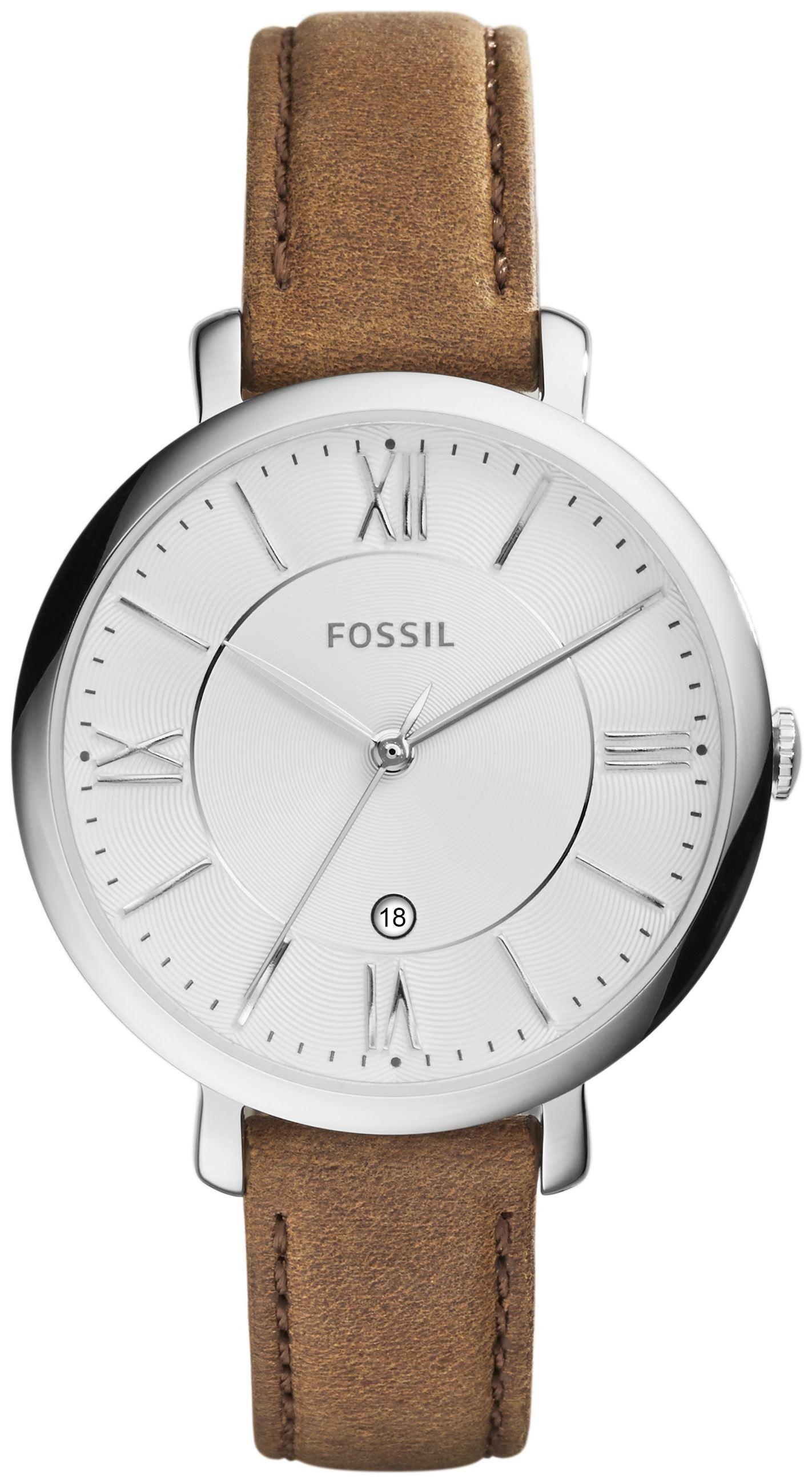 Fossil Dress Dameklokke ES3708 Sølvfarget/Lær Ø36 mm - Fossil