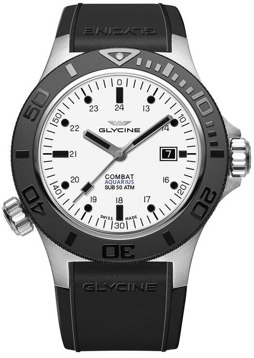 Glycine Combat Herreklokke GL0037 Hvit/Gummi Ø46 mm - Glycine