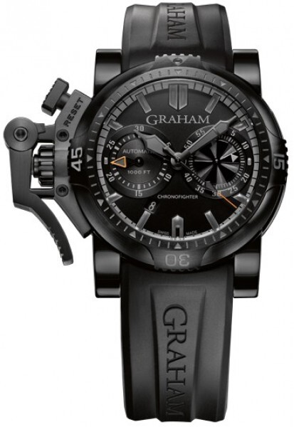 Graham Chronofighter Oversize Herreklokke 2OVEB.B40A Sort/Gummi Ø47 - Graham