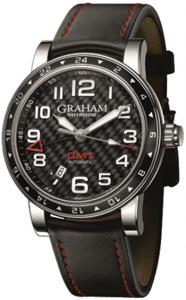 Graham Silverstone Time Zone Herreklokke 2TZAS.B02A Sort/Lær Ø42 mm - Graham