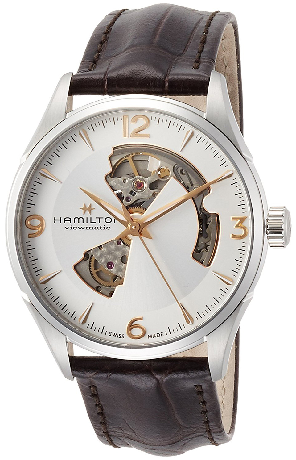 Hamilton Jazzmaster Herreklokke H32705551 Sølvfarget/Lær Ø42 mm - Hamilton