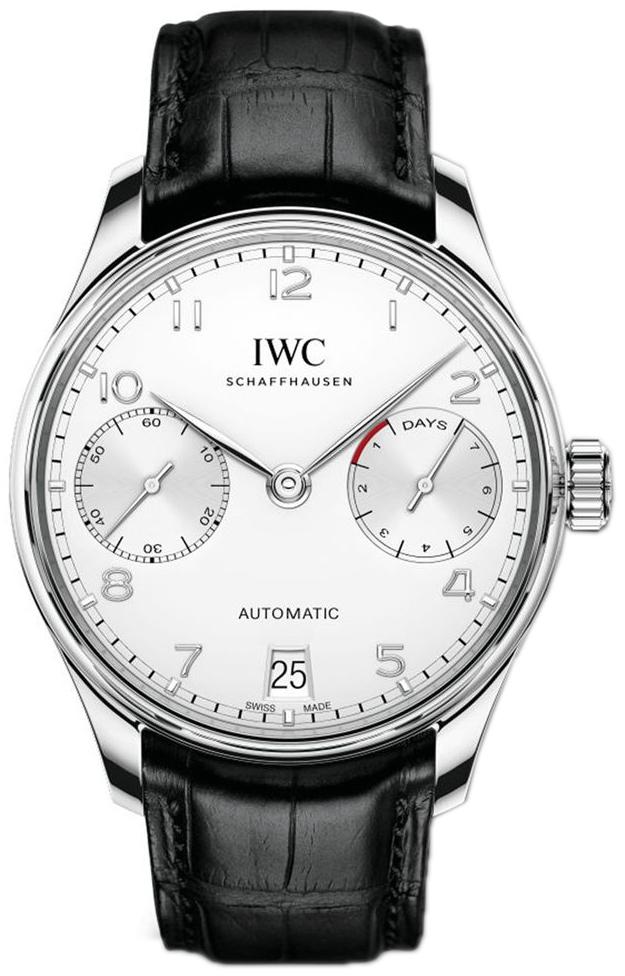 IWC Portuguese Herreklokke IW500712 Sølvfarget/Lær Ø42.3 mm - IWC