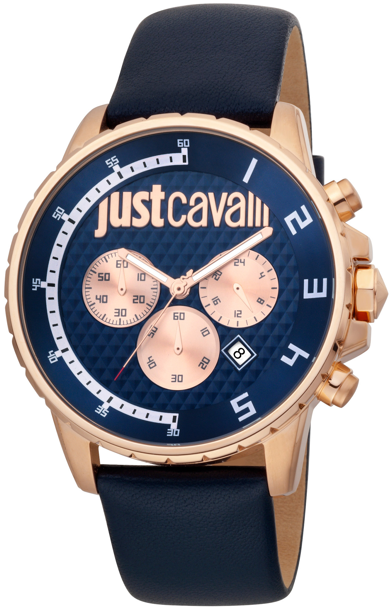 Just Cavalli 99999 Herreklokke JC1G063L0235 Blå/Lær Ø44 mm - Just Cavalli