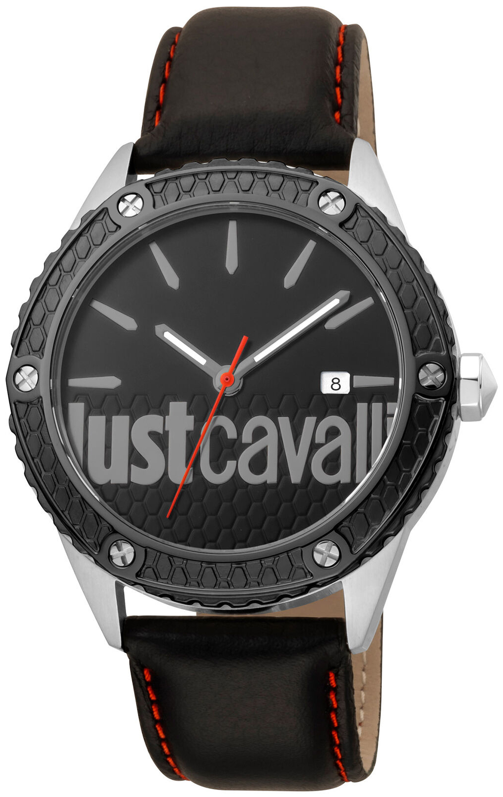Just Cavalli 99999 Herreklokke JC1G080L0045 Sort/Lær Ø44 mm - Just Cavalli