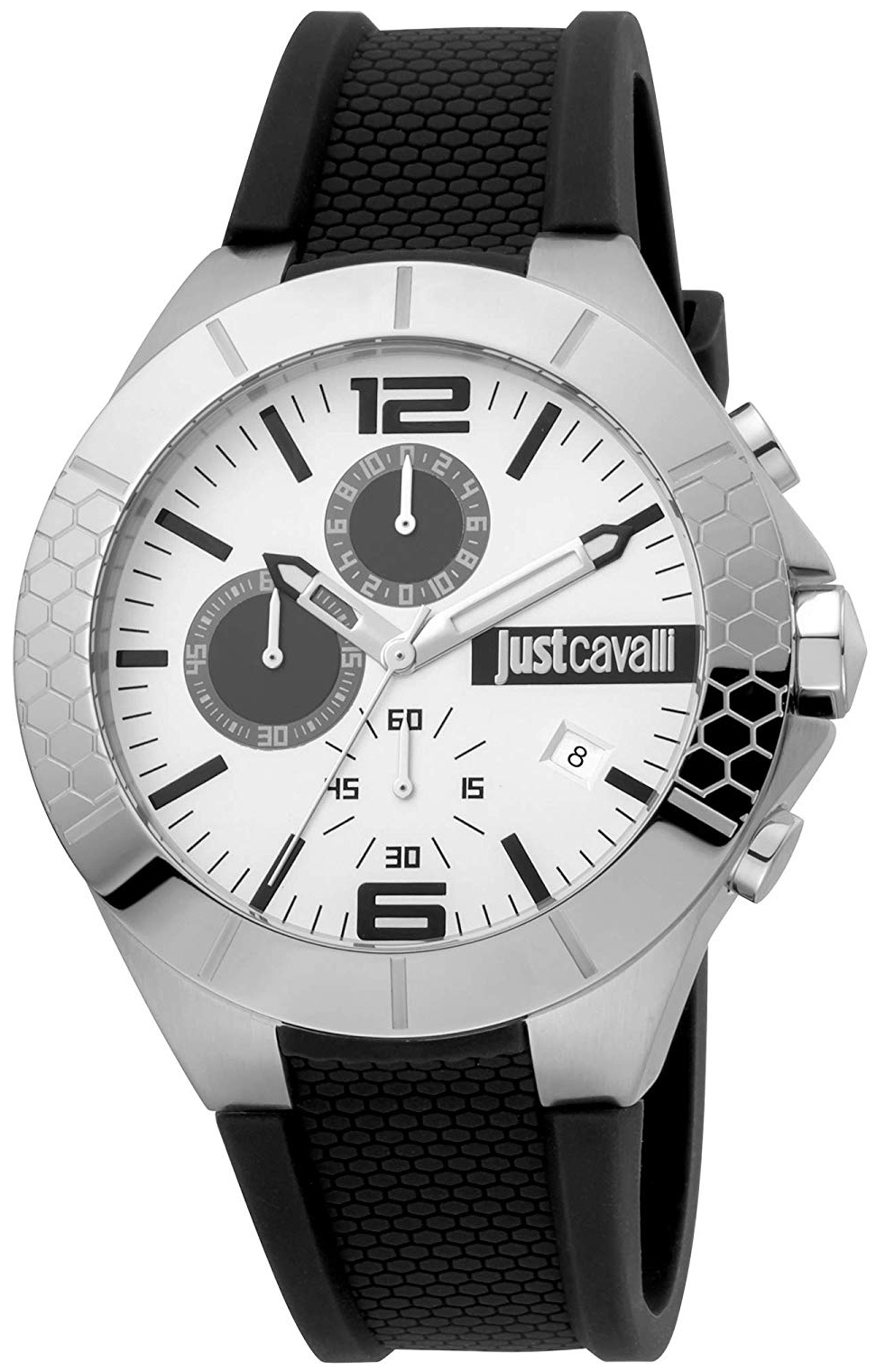 Just Cavalli 99999 Herreklokke JC1G081P0015 Hvit/Gummi Ø44 mm - Just Cavalli