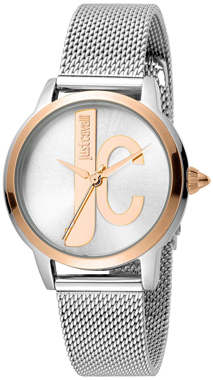 Just Cavalli Logo Dameklokke JC1L050M0115 Sølvfarget/Stål Ø34 mm - Just Cavalli