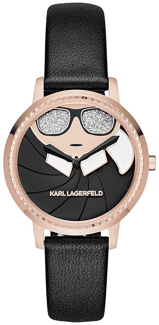 Karl Lagerfeld Camille Dameklokke KL2227 Sort/Lær Ø36 mm - Karl Lagerfeld
